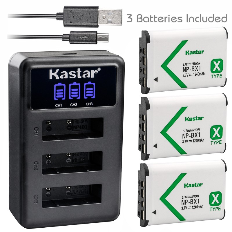 Kastar Battery x3 + Charger for Sony NP-BX1 HDR-AS200V HDR-AS30 HDR-AS300 HDR-AS50 Action Cam HDR-CX240 HDR-CX405 HDR-CX440 HDR-GW66 HDR-GWP88 HDR-MV1 HDR-PJ240 HDR-PJ270 HDR-PJ405 HDR-PJ410 HDR-PJ440