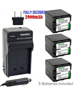Kastar Battery (3-Pack) and Charger Kit for Panasonic VW-VBN260 work with Panasonic HC-X800 HC-X900 HC-X900M HC-X910 HC-X920 HC-X920M HDC-HS900 HDC-SD800 HDC-SD900 HDC-TM900 Cameras