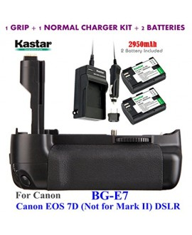 Kastar Pro Multi-Power Vertical Battery Grip (Replacement for BG-E7) + 2x LP-E6 Replacement Batteries + Charger Kit for Canon EOS 7D (Not for Mark II) Digital SLR Camera