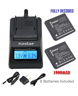 Kastar Fast Charger + Battery 2x for Panasonic DMW-BCF10 A59 & Lumix DMC-FS12 FS15 FS25 FS4 FS42 FS6 FS7 FX40 FX48 FX500 FX550 FX580 F2 F3 FH1 FH20 FH22 FH3 FT3 FT4 FX68 FX700 FX75 TS1 TS2 TS3 TS4