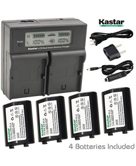 Kastar LCD Dual Smart Fast Charger & Battery (4 PACK) for Nikon EN-EL4, EN-EL4A, ENEL4, ENEL4A and Nikon D2Z, D2H, D2Hs, D2X, D2Xs, D3, D3S, D3X, F6 Camera, Nikon MB-D10, D300, D300S, D700, MB-40 Grip