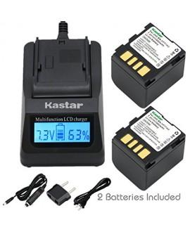 Kastar Fast Charger + Battery 2x for JVC BN-VF714 GR-D250 GR-D270 GR-D290 GR-D390 GR-D450 GR-D650 GR-DF450 GR-DF570 GR-DF590 GR-X5 GZ-D240 GZ-DF240 GZ-DF470 GZ-MG39 GZ-MG40 GZ-MG60 GZ-MG70 GZ-MG500