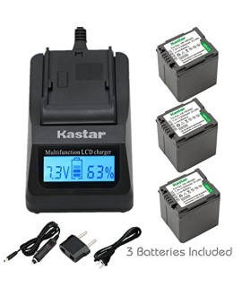 Kastar Ultra Fast Charger(3X faster) Kit and Battery (3-Pack) for Panasonic VW-VBG260 work with Panasonic AG-AC7, AG-AF100, AG-HMC40, AG-HMC80, AG-HMC150, HDC-HS250, HDC-HS300, HDC-HS700, HDC-SD600, HDC-SD700, HDC-SDT750, HDC-TM300, HDC-TM700, SDR-H80 Cam
