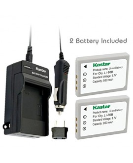 Kastar Battery (2-Pack) and Charger Kit for Olympus Li-80B and Konica Minolta NP-900 work with Olympus T-100,t-110,x-36 and Konica Minolta DiMAGE E40, E50, KYOCERA EZ4033 etc. Cameras