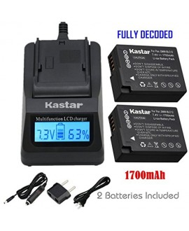 Kastar Ultra Fast Charger and Battery (2-Pack) for Panasonic DMW-BLC12, DMW-BLC12E, DMW-BLC12PP and DE-A79 work with Panasonic Lumix DMC-FZ200, DMC-FZ1000, DMC-G5, DMC-G6, DMC-GH2 Cameras