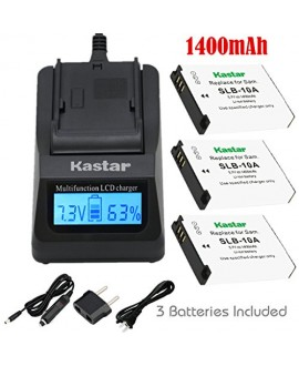 Kastar Ultra Fast Charger (3X faster) Kit and Battery (3-Pack) for Samsung SLB-10A and JVC BN-VH105 work with Samsung ES50, ES55, ES60, EX2F, HMX-U10, HMX-U20, HZ10W, HZ15W, IT100, L100, L110, L200, L210, L310W, M100, M110, M310W, NV9, P800, P1000, PL50,