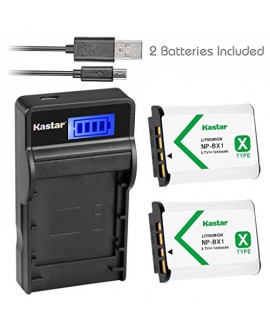 Kastar Battery (X2) & SLIM LCD Charger for Sony NP-BX1 and Cyber-shot DSC-HX50V HX300 RX1 RX1R RX100 RX100 II RX100M II RX100 III RX100M3 WX300, HDR-AS10 AS15 AS30V AS100V AS100VR CX240 Camera