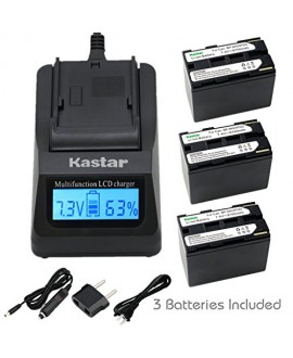 Kastar Fast Charger + Battery (3-Pack) for Canon BP-945, BP-950, BP-970, C2, FV1, FV500, Optura, Vistura, DM-XL2, DM-MV20, E65AS, ES-8600, G2000, GL2, MV200i, UC-V300, V75Hi, XH-G1, XL-H1, XM2, XV7