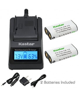 Kastar Ultra Fast Charger(3X faster) Kit and Battery (2-Pack) for CR-V3, CRV3 and Canon PowerShot, Olympus, Pentax, Kodark EasyShare, Sanyo, Casion, Samsung Digital Camera Batteries