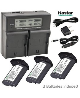 Kastar LCD Dual Smart Fast Charger & Battery (3 PACK) for Canon LP-E4, LPE4 (11.1V 4400mAh 48.4Wh) and Canon EOS-1D C, EOS-1D Mark III, EOS-1Ds Mark III, EOS-1D Mark IV Cameras