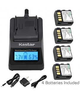 Kastar Fast Charger Kit and BN-VF707 Battery (4-Pack) for JVC GZ-DF240, GZ-DF270, GZ-DF470, GZ-MG27, GZ-MG37, GZ-MG39, GZ-MG40, GZ-MG47, GZ-MG50, GZ-MG57, GZ-MG67, GZ-MG70, GZ-MG77, GZ-MG500, GZ-MG505