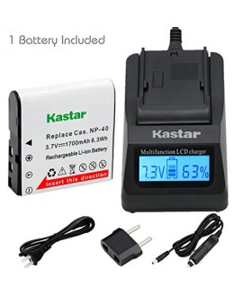 Kastar Ultra Fast Charger(3X faster) Kit and CNP-40 Battery (1-Pack) for Kodak LB-060 AZ521 AZ361 AZ501 AZ522 AZ362 AZ526 and HP D3500 SKL-60 V5060H V5061U Cameras
