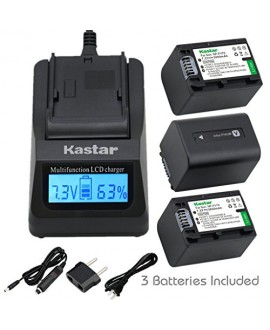 Kastar Ultra Fast Charger(3X faster) Kit and Battery (3-Pack) for Sony NP-FV70,CB-TRV,TRV-U and Sony DCR-SR15,SR21,SR68,SR88,SX21,SX45,SX63,SX65,SX85,FDR-AX100,HDR-CX105,CX130,CX155,CX160,CX190,CX200,CX260V,CX290,CX300,CX305,CX330,CX350V,CX360V,CX380,CX43