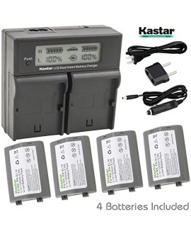 Kastar LCD Dual Smart Fast Charger & Battery (4 PACK) for Nikon EN-EL18, EN-EL18a, ENEL18, ENEL18a, MH-26, MH-26a, MH26 and Nikon D4, D4S, D5 Digital SLR Camera, Nikon MB-D12, D800, D800E Battery Grip