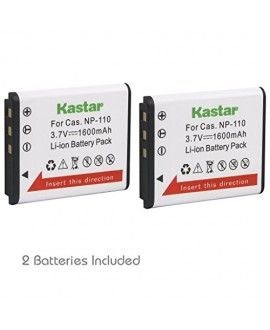 Kastar CNP110 Battery (2-Pack) for Casio NP-110, NP110 and Casio Exilim EX-FC200S, EX-Z2000, EX-Z3000, EX-ZR10, EX-ZR15, EX-ZR20 Camera