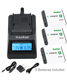 Kastar Fast Charger + Battery (3-Pack) for Sony NP-FR1, BC-TR1, TRN and Sony Cyber-Shot DSC-F88, DSC-G1, DSC-P100, DSC-P100/LJ, DSC-P100/R, DSC-P120, DSCP150, DSC-P200, DSC-T30, DSC-T50, DSC-V3 Camera
