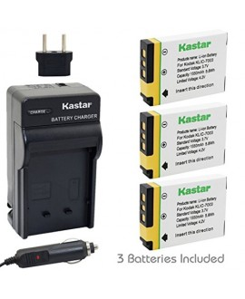 Kastar 3X Battery + Charger for Kodak KLIC-7003 K7003, GE GB-40 & Kodak EasyShare M380 M381 EasyShare M420 EasyShare V803 EasyShare V1003 EasyShare Z950, GE E1030 E1040 E1050TW E1240 E1250TW E850 H855