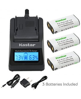Kastar Ultra Fast Charger(3X faster) Kit and Battery (3-Pack) for CR-V3 work with Canon PowerShot A60,70,75,300,Nikon Coolpix 600,700,800,950,990,2100,2200,3100,3200,Olympus C3000,D565,D-100,D-150,D-230,D-370,D-380,D-390,D-460,D-490,D-560Z,Pentax Digibino