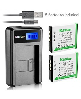Kastar Battery (X2) & LCD Slim USB Charger for Kodak KLIC-7004 K7004 NP-50 D-Li68 and EasyShare M2008 V1273 V1233 V1253 Zi8 Zi12 PlayFull Dual PlaySport PlayTouch Pentax Q7 Q10 Q-S1 Ricoh WG-M2 Camera
