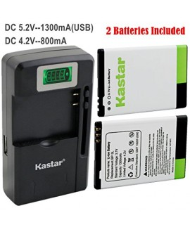 Kastar BP-3L Battery (2-Pack) and intelligent mini travel Charger ( with high speed portable USB charge function) for Nokia Lumia 710 Sabre, N303, N603, 610, 3030, Asha 303, Lumia 510, Glory, Lumia 510.2, AT&T, T-Mobile, Sprint, Verizon Smartphone --Suppe