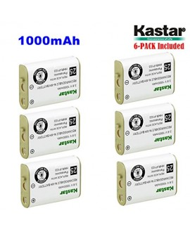 Kastar HHR-P103 Battery (6-Pack), Type 25, NI-MH Rechargeable Battery 3.6V 1000mAh, Replacement for Panasonic HHR-P103 / P-P103, AT&T, GE, Vtech Cordless phone (Detail Models in the Description)