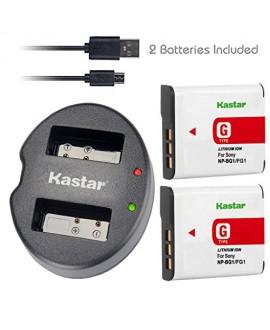 Kastar Battery (X2) & Dual USB Charger for Sony NP-BG1 NP-FG1 NPBG1 NPFG1 and Cyber-shot DSC-HX5V HX7V HX9V HX10V HX30V DSC-W120 W150 W220 DSC-H3 DSC-H7 DSC-H9 DSC-H10 DSC-H20 DSC-H50 DSC-H55 DSC-H70