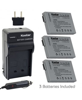 Kastar BP-208 Battery (3-Pack) and Charger Kit for Canon DC10/19 DC20 DC21 DC22 DC40 DC50 DC51 DC95 DC100 DC200/201/210/211 DC220/230 Elura 100 FVM300 IXY DVS1 MVX1Si/430/450/460 Optura S1 VIXIA HR10