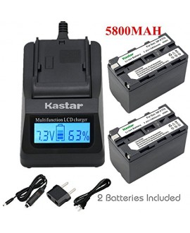 Kastar Ultra Fast Charger Kit and Battery (2-Pack) for Sony NP-F770 NP-F750 and CCD-RV100 CCD-RV200 CCD-SC9 CCD-TR1 CCD-TR940 CCD-TR917 Camera CN-126 CN-160 CN-216 CN-304 YN 300 VL600 LED Video Light