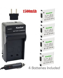 Kastar Battery (4-Pack) and Charger Kit for Canon NB-11L, CB-2LD, CB-2LF work with Canon PowerShot A2300 IS, A2400 IS, A2500, A2600, A3400 IS, A3500 IS, A4000 IS, ELPH 110 HS, ELPH 115 HS, ELPH 130 HS, ELPH 135 HS, ELPH 140 HS, ELPH 150 HS, ELPH 320 HS, E