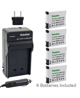 Kastar AHDBT-002 Battery (4-Pack) and Charger Kit for GoPro AHDBT-001, AHDBT-002 work with GoPro HD HERO1, HERO2, GoPro Original HD HERO Cameras