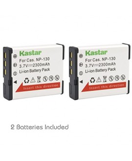 Kastar CNP130 Battery (2-Pack) for Casio NP-130, NP-130A & Exilim EX-10, EX-100, EX-H30, EX-ZR100, EX-ZR200, EX-ZR300, EX-ZR400, EX-ZR500, EX-ZR700, EX-ZR800, EX-ZR850, EX-ZR1000, EX-ZR1200, EX-ZS1500