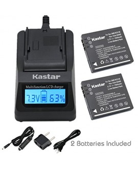 Kastar Ultra Fast Charger(3X faster faster than the normal) Kit and Battery (2-Pack) for Panasonic Lumix CGA-S008, CGA-S008A, CGA-S008A/1B, CGA-S008E, CGA-S008E/1B, DMW-BCE10, DMW-BCE10PP, DMW-BCE10E, VW-VBJ10, VW-VBJ10E, DE-A40 and Panasonic Lumix DMC-FS