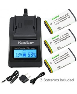 Kastar Ultra Fast Charger(3X faster) Kit and Battery (3-Pack) for Kodak KLIC-8000, K8000 work with Kodak Z1012 IS, Z1015 IS, Z1085 IS, Z1485 IS, Z612, Z712 IS, Z812 IS, Z8612 IS Cameras [Over 3x faster than a normal charger with portable USB charge functi