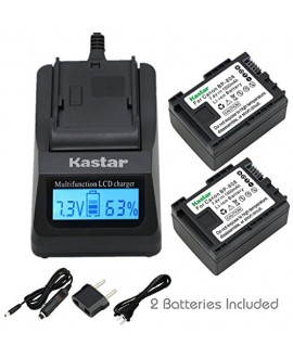 Kastar Ultra Fast Charger(3X faster) Kit and BP808 Battery (2-Pack) for Canon BP-807, BP-808, BP-809 and Canon HFM400 HF100 M300 S100 S200 FS36 FS37 HF200 HFS11 HF100 HF20 HG21 FS406 Cameras