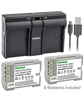 Kastar BLM5 2x Battery + USB Dual Charger for Olympus BLM-5, PS-BLM5 and Olympus C-8080, C-7070, C-5060, E1, E3, E5, E300, E330, E500, E510, E520 Digital Camera