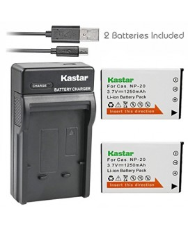 Kastar Battery (X2) + Slim USB Charger for Casio NP20 NP-20 & Exilim EX-M1 EX-M2 EX-M20 EX-S20 EX-S100 EX-S500 EX-S600 EX-S880 EX-Z3 EX-Z4 EX-Z5 EX-Z6 EX-Z7 EX-Z8 EX-Z11 EX-Z60 EX-Z70 EX-Z75 EX-Z77