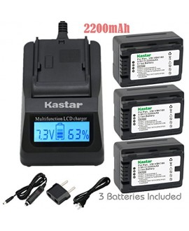 Kastar Ultra Fast Charger(3X faster) Kit and Battery (3-Pack) for Panasonic VW-VBK180 work with Panasonic HC-V10, HC-V100, HC-V100M, HC-V500, HC-V500M, HC-V700, HC-V700M, HDC-HS60, HDC-HS80, HDC-SD40, HDC-SD60, HDC-SD80, HDC-SD90, HDC-SDX1H, HDC-TM40, HDC