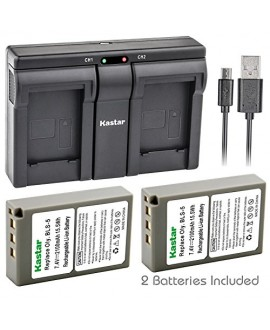 Kastar BLS5 2x Battery + USB Dual Charger for Olympus BLS-5 PS-BLS5 Olympus OM-D E-400 E-410 E-420 E-450 E-600 E-620 E-P1 E-P2 E-P3 E-PL1 E-PL2 E-PLE15 E-PM1 E-PM2 E-M10 E-PL6 E-PL5 stylus 1 Camera
