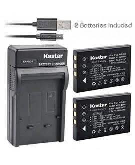 Kastar Battery (X2) & Slim USB Charger for Samsung SLB-1137 Fujifilm NP-60 Kodak KLIC-5000 Olympus Li-20B & Samsung U-CA3 U-CA4 U-CA401 U-CA5 U-CA501 U-CA505 V10 V700 V800, Olympus AZ-1, AZ-2 + more
