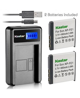 Kastar Battery (X2) & LCD USB Charger for Sony NP-FE1 and Sony Cyber-shot DSC-T7 DSC-T7/B DSC-T7/S DSC-P2 DSC-P3 DSC-P5 DSC-P9 DSC-P7 Digital Camera
