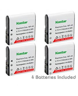 Kastar CNP-40 Battery (4-Pack) for Kodak LB-060 AZ521 AZ361 AZ501 AZ522 AZ362 AZ526 and HP D3500 SKL-60 V5060H V5061U Cameras