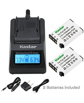 Kastar Ultra Fast Charger(3X faster) Kit and NP-48 Battery (2-Pack) for Fujifilm NP-48, FNP48, BC-48 work with Fujifilm XQ1, XQ2 Digital Cameras