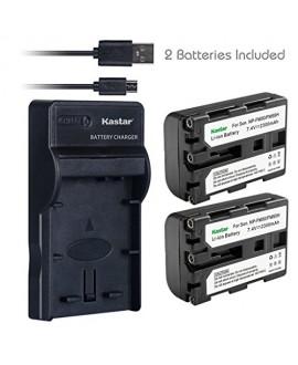 Kastar Battery (X2) & Slim USB Charger for NP-FM50 NP-FM30 NP-FM51 NP-QM50 NP-QM51 NP-FM55H and Sony CCD-FRV DCR-PC DCR-TRV DCR-DVD DSR-PDX GV HVL Series Camera Camcorder