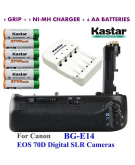 Kastar Pro Multi-Power Vertical Battery Grip (Replacement for BG-E14) + 6x AA NI-MH Batteries(2700mAh) + NI-MH Charger for Canon EOS 70D Digital SLR Cameras