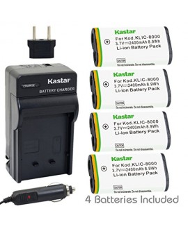Kastar Battery (4-Pack) and Charger Kit for Kodak KLIC-8000, K8000 work with Kodak Z1012 IS, Z1015 IS, Z1085 IS, Z1485 IS, Z612, Z712 IS, Z812 IS, Z8612 IS Cameras