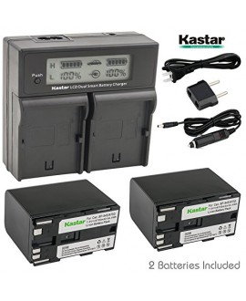 Kastar LCD Dual Fast Charger + 2x Battery for Canon BP-970G BP-975 & EOS C100 EOS C100 Mark II EOS C300 C300 PL EOS C500 C500 PL GL2 XF100 XF105 XF200 XF205 XF300 XF305 XH A1S XH G1S XL H1A XL H1S XL2