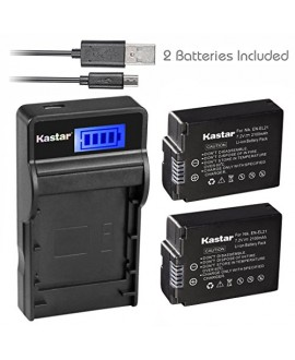 Kastar Battery (X2) & SLIM LCD Charger for Nikon EN-EL21, ENEL21, MH-28 and Nikon 1 V2 Camera
