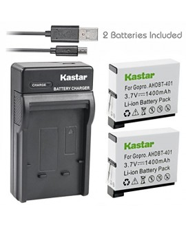 Kastar Battery (X2) & Slim USB Charger for GoPro HERO4 and GoPro AHDBT-401, AHBBP-401 Sport Cameras