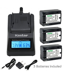 Kastar Fast Charger and Battery (3-Pack) for Panasonic VW-VBT190 and HC-V110 V130 V160 V180 HC-V201 V210 V250 HC-V380 HC-V510 V520 V550 HC-V710 V720 V750 V770 HC-VX870 HC-VX981 HC-W580 W850 HC-WXF991