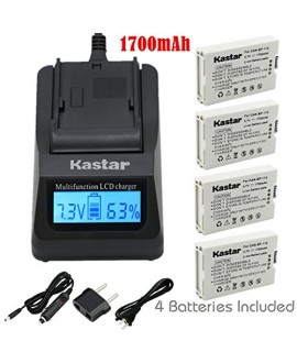 Kastar Ultra Fast Charger(3X faster) Kit and BP110 Battery (4-Pack) for Canon BP-110 and Canon VIXIA HF R20, HF R21, HF R200, HF R26, HF R28, HF R206, XF105 Cameras [with portable USB charge function]